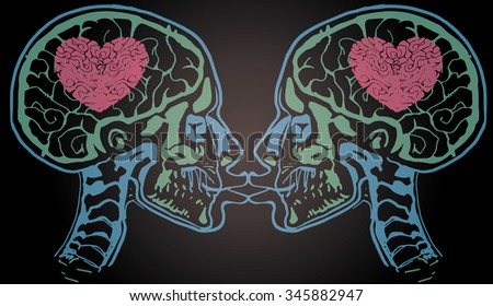 X-ray scan of a people kissing head with heart in brain. - stock vector
