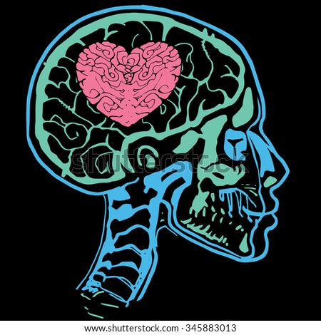 X-ray scan of head with heart in brain. - stock vector
