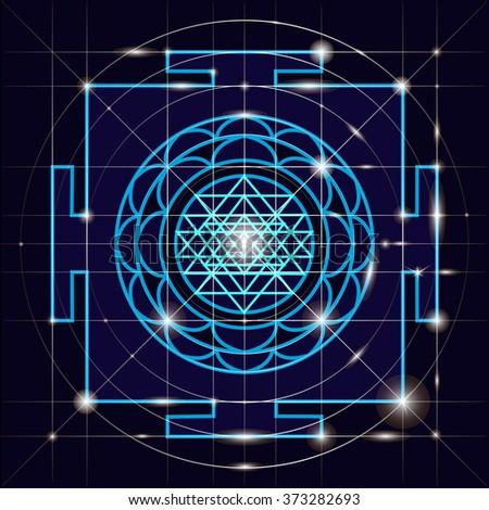 Yantra - cosmic conductor of energy. Yantra Sree . Sacred Geometry - stock vector