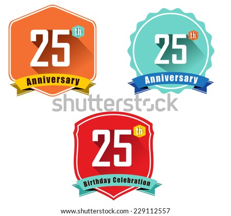 25 year birthday celebration flat color vintage label badge, 25th anniversary decorative  emblem - vector illustration eps10 - stock vector