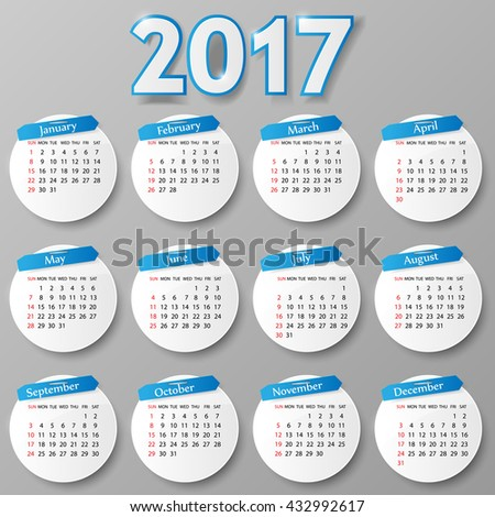 2017 year calendar design. Vector illustration. - stock vector