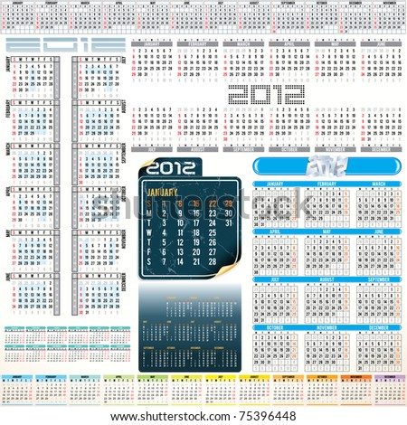 2012 year Calendar grids - vertical and horizontal orientation , weeks starting from Sunday and Monday. - stock vector