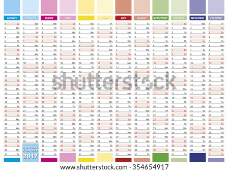 2017 Year calendar in english. Elegant annual planner for year 2017. - stock vector