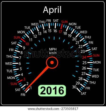 2016 year calendar speedometer car. April. Vector illustration. - stock vector