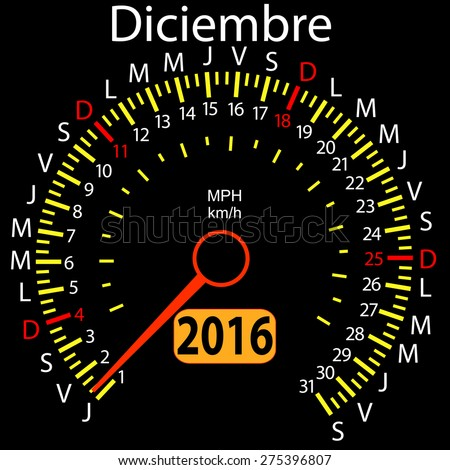 2016 year calendar speedometer car in Spanish, December. Vector illustration. - stock vector