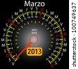 2013 year calendar speedometer car in Spanish. March - stock vector
