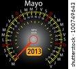 2013 year calendar speedometer car in Spanish. May - stock vector