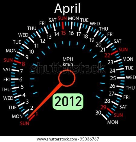 2012 year calendar speedometer car in vector. April. Rasterized version also available in portfolio. - stock vector