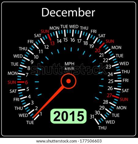 2015 year calendar speedometer car in vector. December. - stock vector