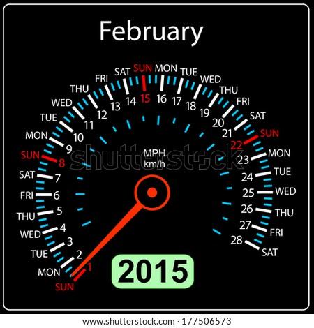 2015 year calendar speedometer car in vector. February. - stock vector