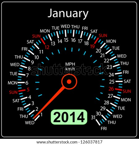 2014 year calendar speedometer car in vector. January. - stock vector