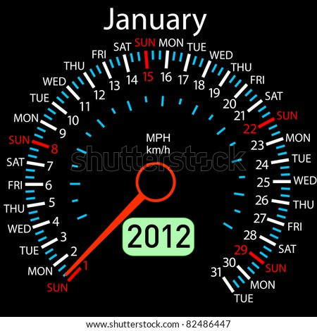 2012 year Calendar speedometer car in vector. January. - stock vector