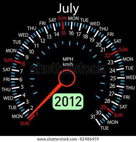 2012 year Calendar speedometer car in vector. July. - stock vector