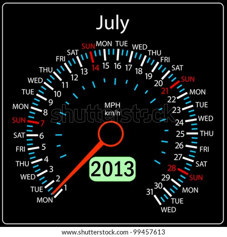 2013 year calendar speedometer car in vector. July. - stock vector