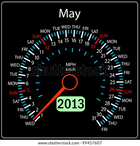 2013 year calendar speedometer car in vector. May. - stock vector