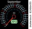2012 year Calendar speedometer car in vector. September. - stock vector