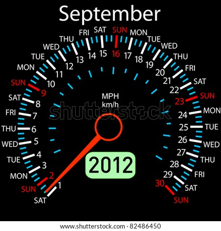 2012 year Calendar speedometer car in vector. September. - stock vector