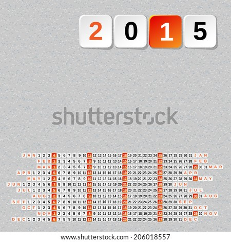 2015 Year Calendar Template + Seamless Background.  EPS 10. Mask was used for seamless background. - stock vector