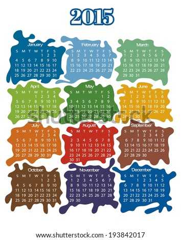 2015 year calendar (week starts on Sunday) - stock vector