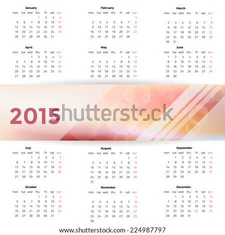 2015 year calendar.  Weeks start on Monday. - stock vector