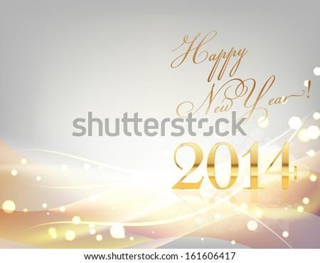 2014 year card golden tones - stock vector