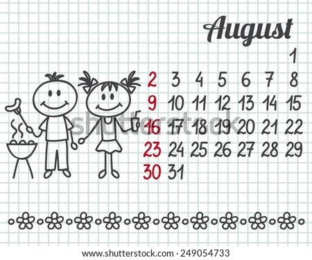 2015 year hand-drawn calendar (week starts on Sunday). August. - stock vector