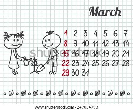 2015 year hand-drawn calendar (week starts on Sunday). March. - stock vector