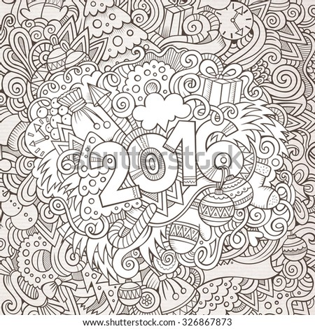 2016 year hand lettering and doodles elements background. Vector illustration - stock vector