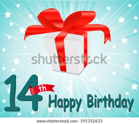 14 year Happy Birthday Card with gift and colorful background in vector EPS10 - stock vector