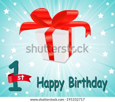 1 year Happy Birthday Card with gift and colorful background in vector EPS10 - stock vector