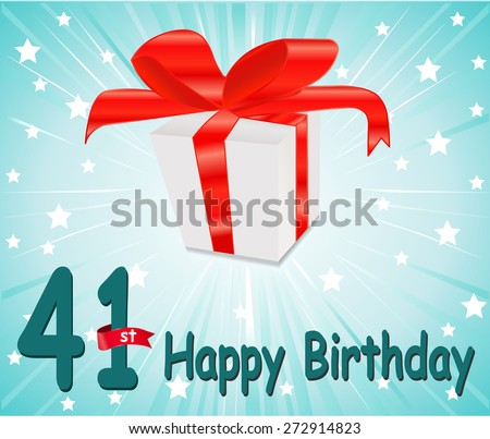 41 year Happy Birthday Card with gift and colorful background in vector EPS10 - stock vector
