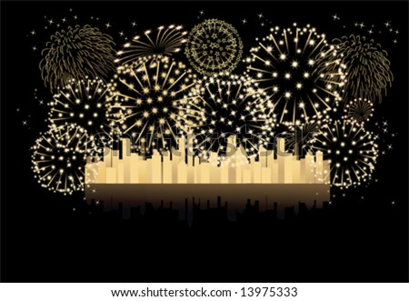 2013  year new year fireworks Let's celebrate together (vector) - stock vector