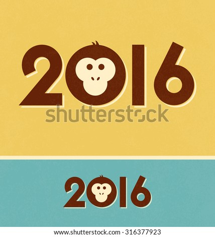 2016 - Year of the Monkey - Typeface with illustration on vintage style background - stock vector