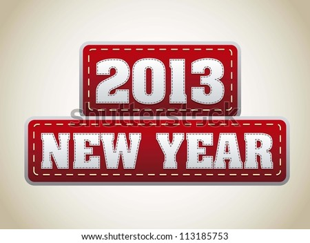 2013 year over red tags over vintage background. vector illustration - stock vector