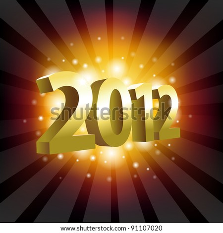 2012 Year Poster, Vector Illustration - stock vector