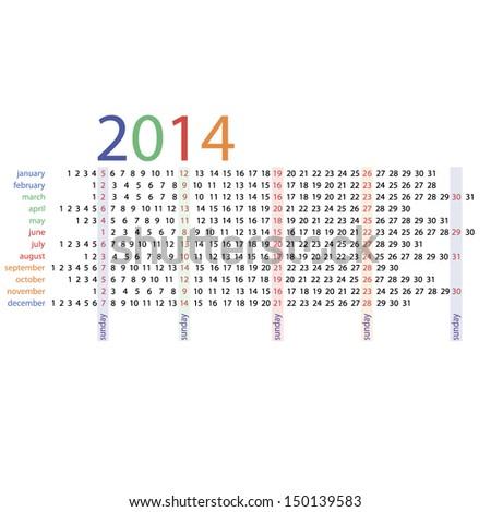 2014 year vector calendar  - stock vector
