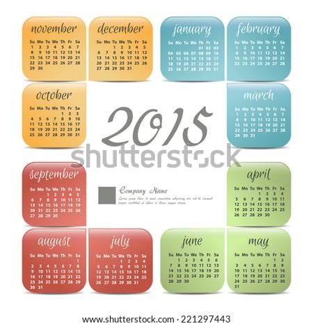 2015 year vector calendar for business wall calendar - stock vector