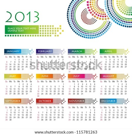 2013 year wall calendar - stock vector