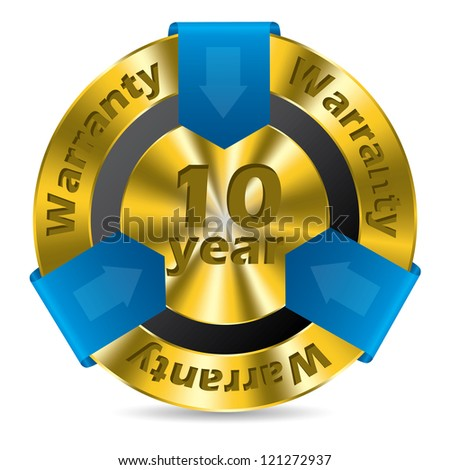 10 year warranty badge design in gold and blue color - stock vector