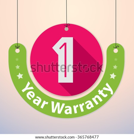 1 year Warranty Colorful Badge, Paper cut-out - stock vector