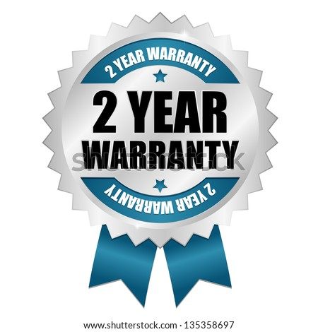 2 year warranty seal blue - stock vector