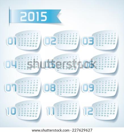 2015 Yearly Calendar. Sticker labels design illustration - stock vector