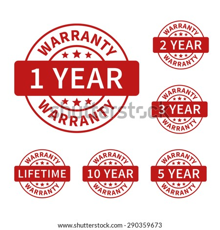1, 2, 3, 5, 10 years and lifetime warranty label or seal flat icon - stock vector