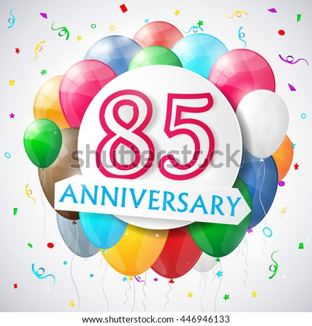 85 years anniversary celebration background with balloons. Vector illustration. - stock vector