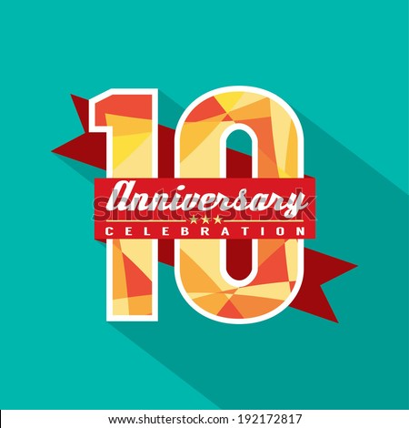 10 Years Anniversary Celebration Design - stock vector