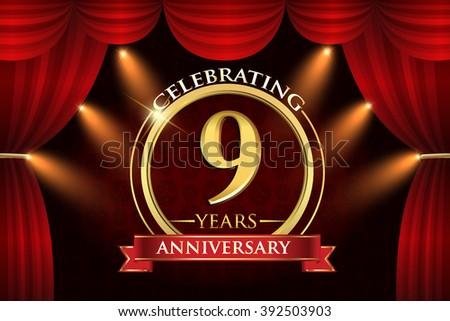 9 years anniversary celebration with red ribbon. Curtain background and light shine. golden anniversary logo. - stock vector