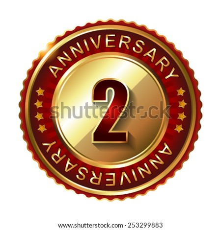 2 Years anniversary golden label.  - stock vector