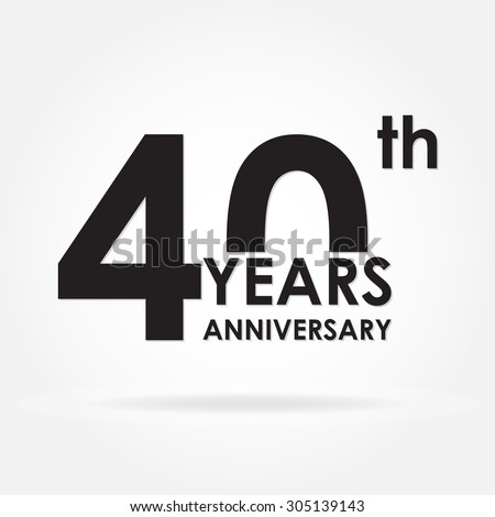40 years anniversary icon or sign. Template for celebration and congratulation design.  Vector illustration of 40th anniversary label. - stock vector
