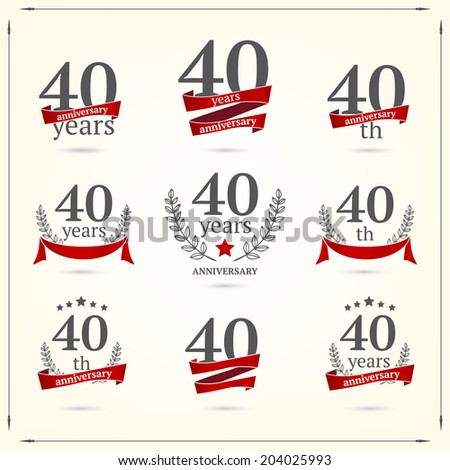 40 years anniversary icons collection  - stock vector
