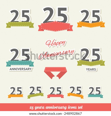 25 years anniversary icons collection - stock vector